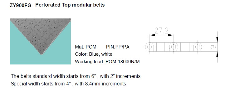 perforated top modular belts
